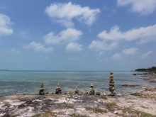 Rock piles at Secret Beach, Ambergris Caye, Belize