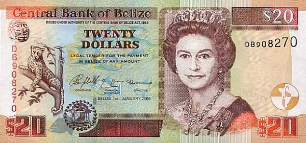 Belize Currency - the 20bzd bill