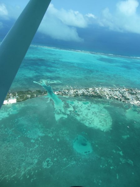 Flying over Caye Caulker